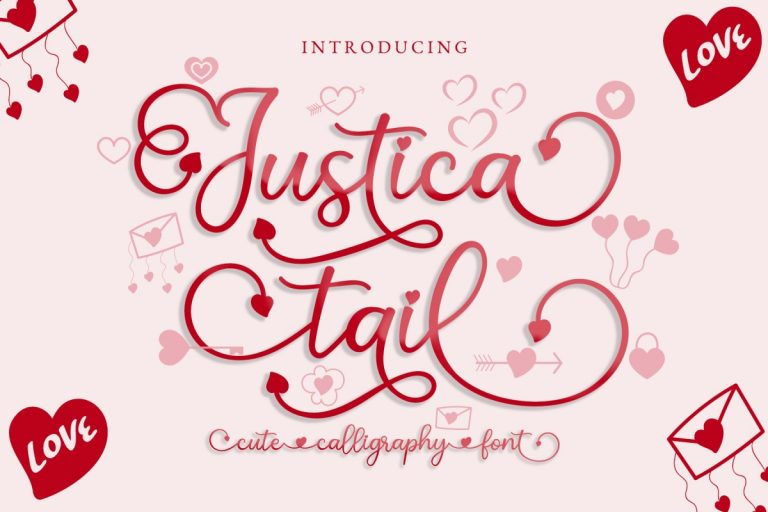 Preview image of Justica Tail Heart Font